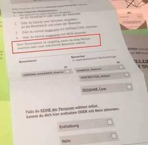 Der Stimmzettel der Grünen zur sogenannten
